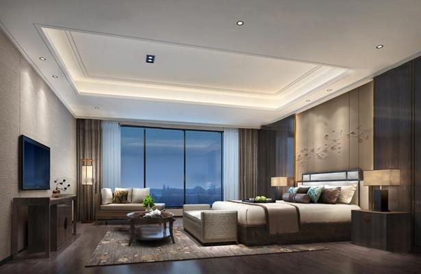 新中式卧室空间3D模型