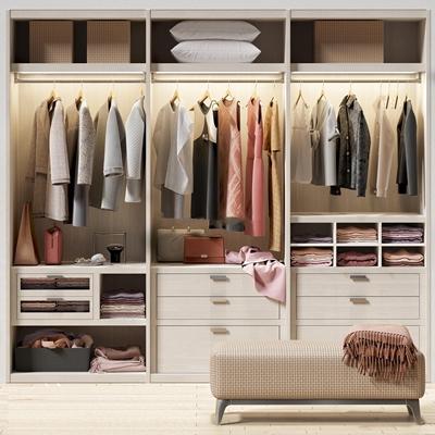 现代衣柜衣服组合3D模型