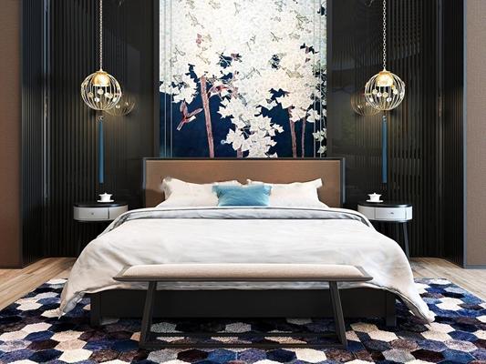 新中式双人床吊灯床头柜组合3D模型下载