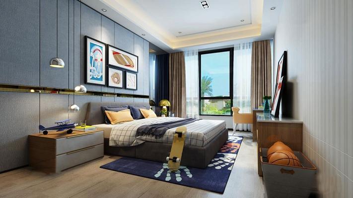 现代儿童房卧室空间3D模型