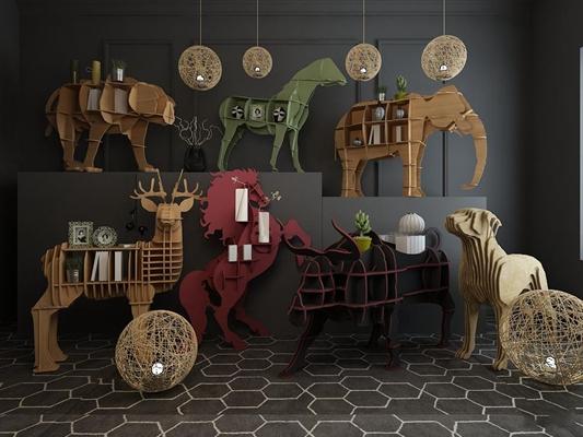 北欧木质儿童动物书架装饰架饰品3D模型