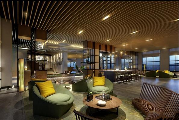 现代酒店会所大堂休息区3D模型