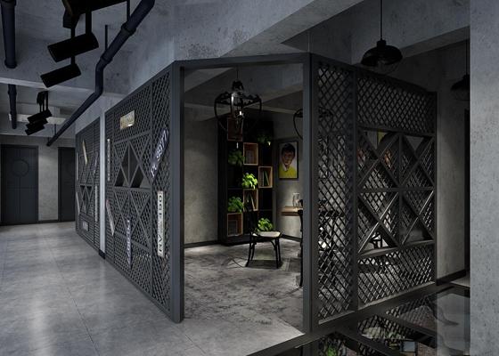 工业风餐馆包间3D模型