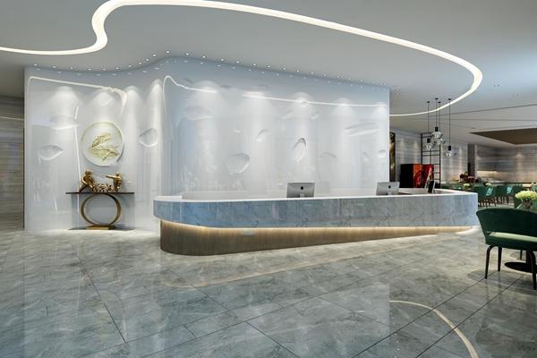 现代酒店大堂服务台大堂吧休息区3D模型