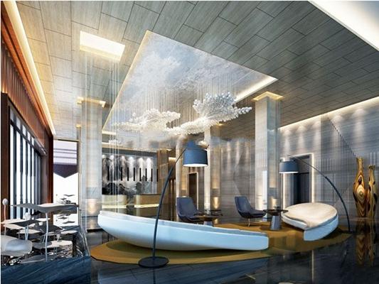 现代商务酒店大堂空间3D模型【ID:47159125】