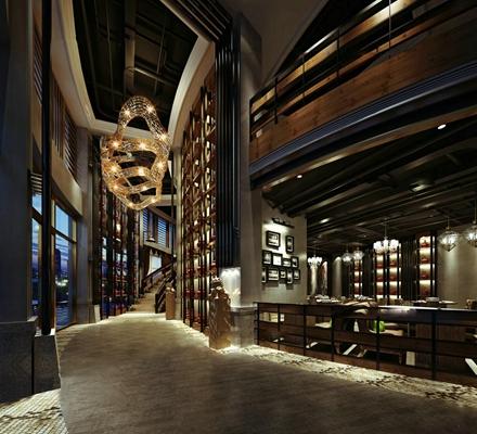 现代酒店走廊餐饮空间3D模型【ID:47159224】