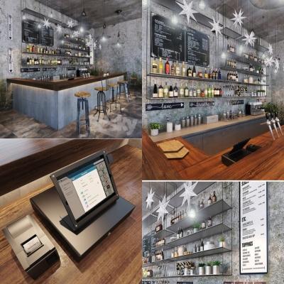 工业风酒吧吧台收银台3D模型