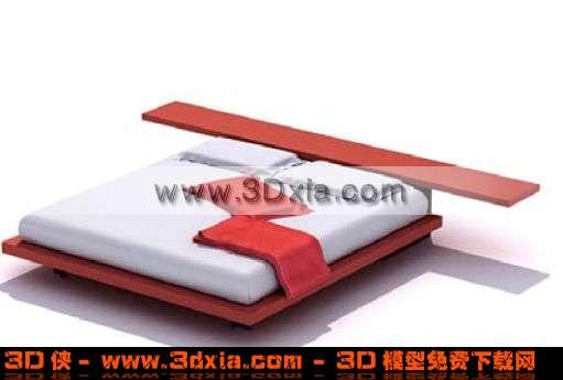 精美的红白配色3D双人大床模型下载