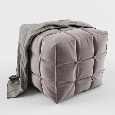 现代布艺方形凳子3D模型