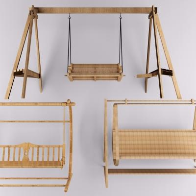 现代实木户外秋千椅3D模型