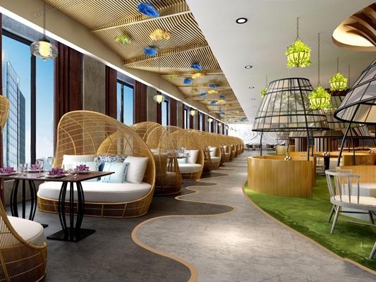 现代餐厅咖啡厅 现代餐厅 咖啡厅 造型卡座 吊顶 吊灯 吧台 吧椅 植物