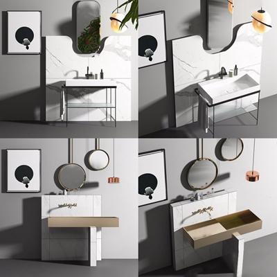 北欧洗手台组合 北欧卫浴用品 洗手台 梳妆镜 单头吊灯组合
