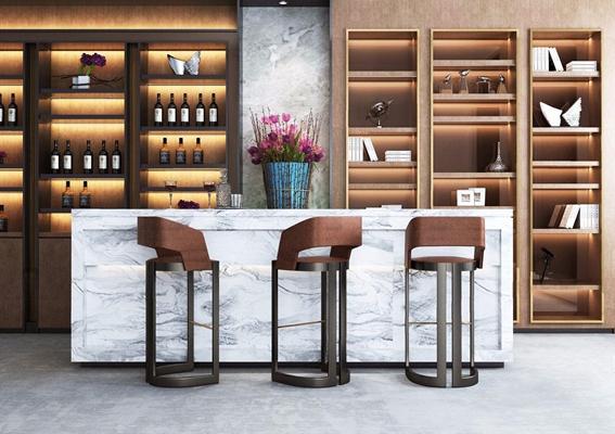 现代吧台酒柜组合 吧台 吧椅 酒柜 植物 装饰