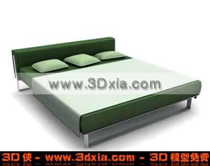 精美宽大的3D三人床模型