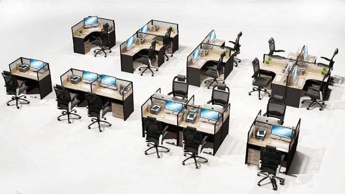 現代辦公桌椅3D模型