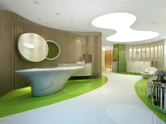 现代美容院 现代美容院 店面前台接待 美发 养生馆 门头 植物 多人沙发