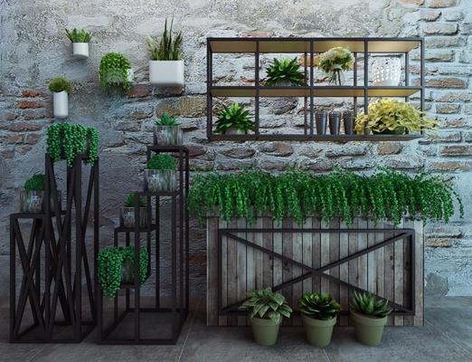 工业风植物组合 工业风盆栽 绿植 花卉 花架 铁架 工业风盆栽 绿植 花卉 花架 铁架