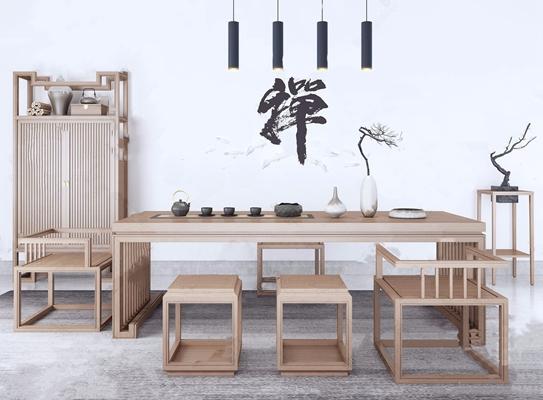 新中式茶台凳子衣柜组合 新中式桌椅组合 茶具 茶桌 茶椅 博古架 鼓凳