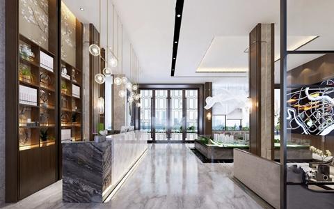 新中式售楼处 新中式售楼处 沙盘 吊灯 接待大厅 休息区 多人沙发 茶几 边几 休闲桌椅 接待台
