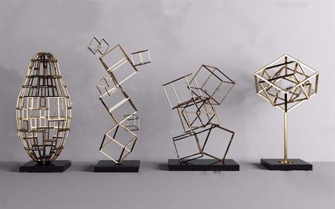 现代金属几何线条饰品摆件3d模型