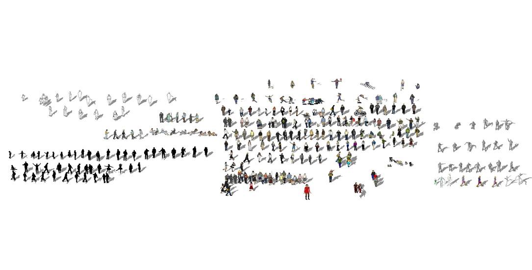 2D人物3D人物组合SU模型