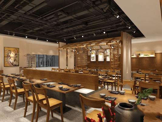 中式餐廳3D模型