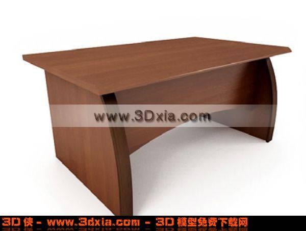简单的办公木桌3D模型下载