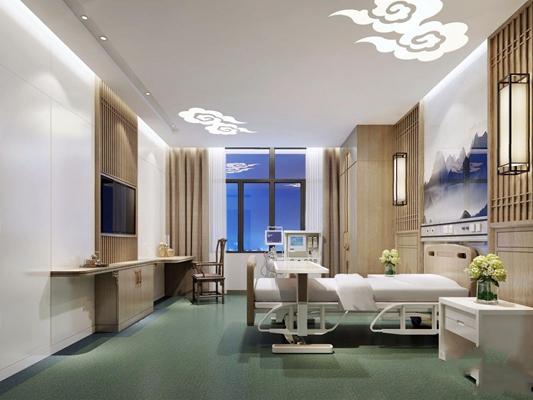 康复水疗休息室 现代医院 病床 新中式椅子 壁灯 床头柜 水疗休息室