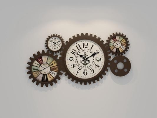 工业复古风挂钟 工业风墙饰 挂钟 齿轮