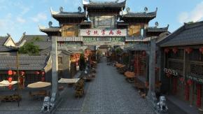 中式古玩街鸟瞰古城建筑3D模型