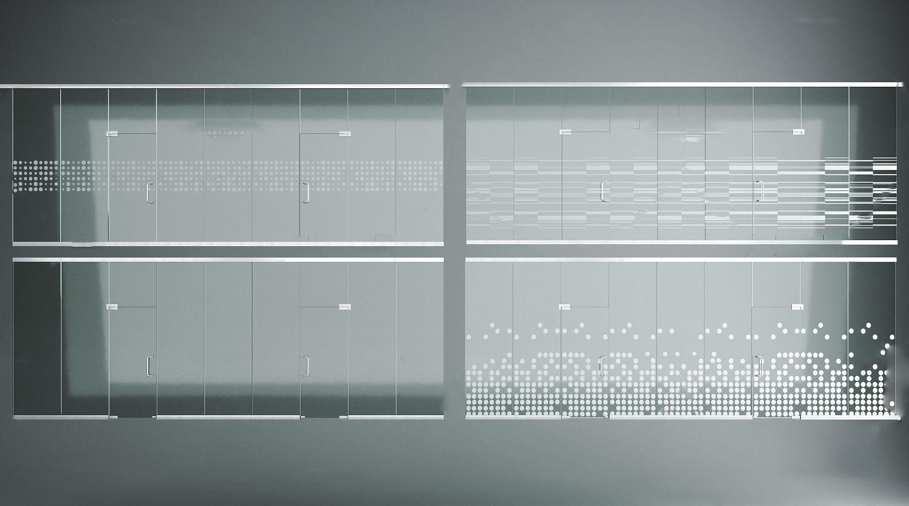 现代办公玻璃门3d模型