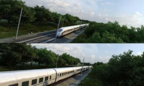 现代动车火车高铁轨道树林3D模型