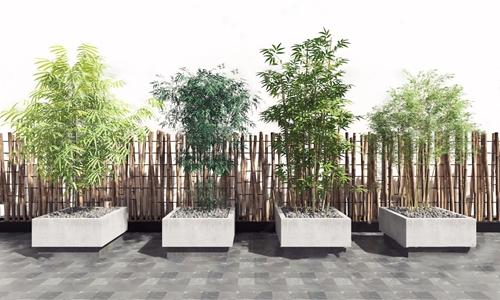 现代竹子竹篱笆3d模型