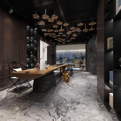 新中式茶室会所 新中式娱乐会所 茶室 茶台 凳子 绿植 壁柜 过道 鹅卵石 会客室 多人沙发 茶几 休闲椅