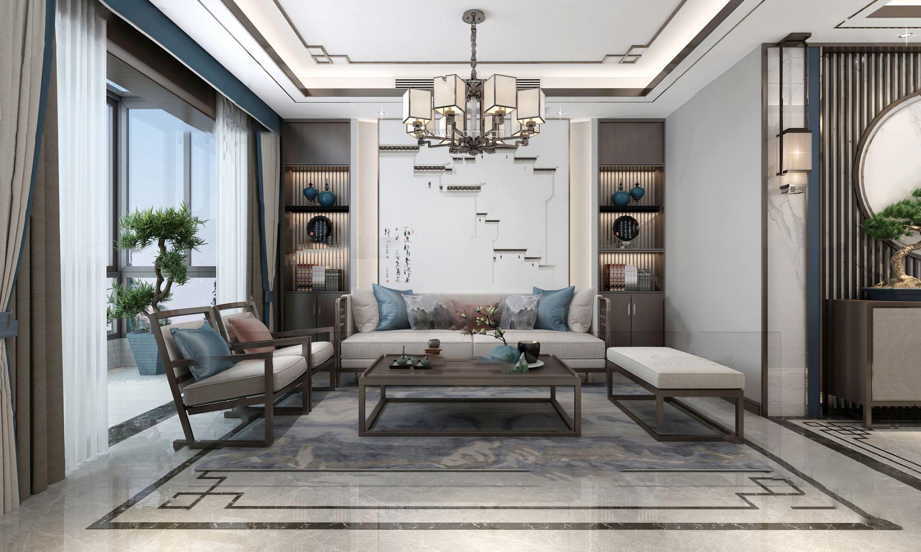 新中式复式客厅餐厅3d模型