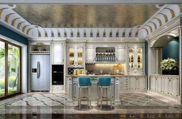 法式描金廚房 法式廚房 櫥柜 吧臺 吧椅 雙開門冰箱 花藝 餐具