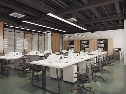 现代办公室 现代办公室 玻璃隔断 办公桌 电脑 笔记本 办公椅 办公柜 打印机 复印件 百叶帘