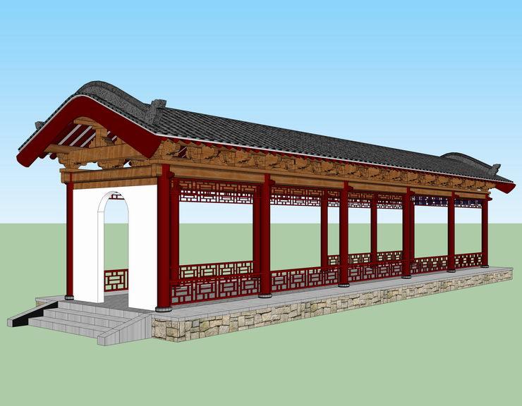 中式游廊SU模型