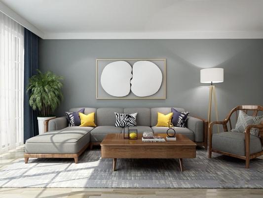 北欧实木转角沙发 北欧沙发 实木转角沙发 单人椅 落地灯 挂画 植物 茶几