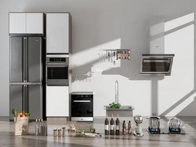 现代冰箱烤箱油烟机3d模型