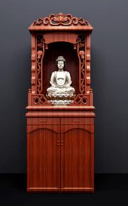 中式实木佛龛佛像3D模型