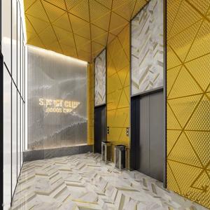 現代電梯廳 現代過道 垃圾桶 沖孔板