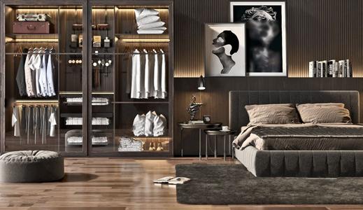 现代风格卧室家具组合 现代双人床 衣柜 皮箱 抱枕 衣服 服饰 装饰画 台灯地毯