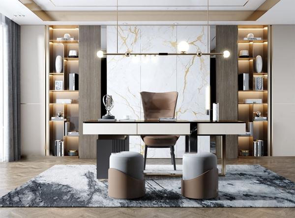 现代轻奢书房3d模型