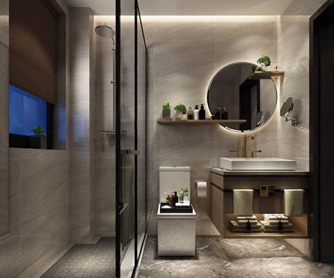 新中式卫生间 新中式卫生间 镜子 马桶 洗手台 卫浴摆件 淋浴间