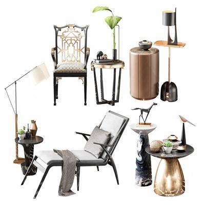 新中式休闲躺椅茶几 新中式躺椅 单椅 茶几 角几 落地灯