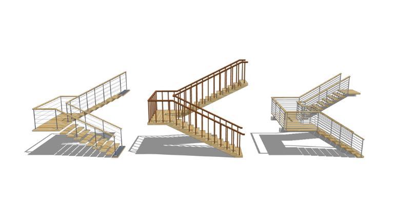 木楼梯组合SU模型