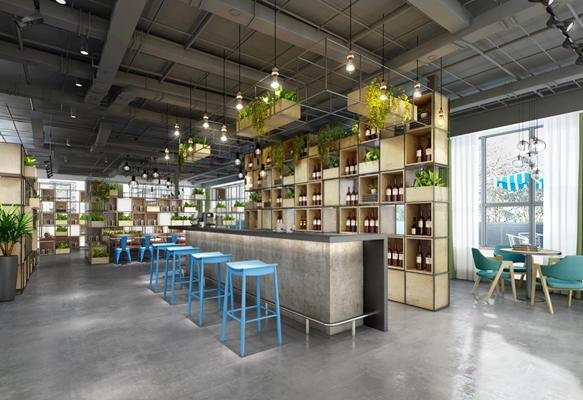 工业风咖啡吧 咖啡店 吧台 吧椅 酒柜 装饰柜