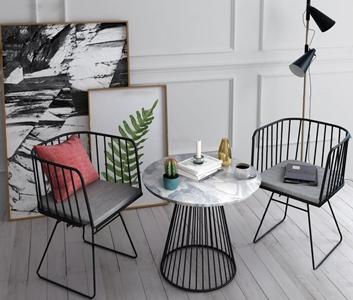 现代休闲桌椅组合3d模型