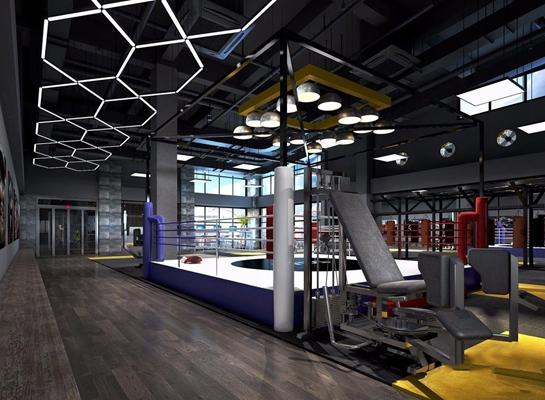 工业风健身房 工业风健身房 运动器材 搏击台 造型吊灯 健身器材
